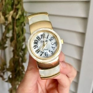 {Vintage} Gold & Mother of Pearl Cuff Watch, Small